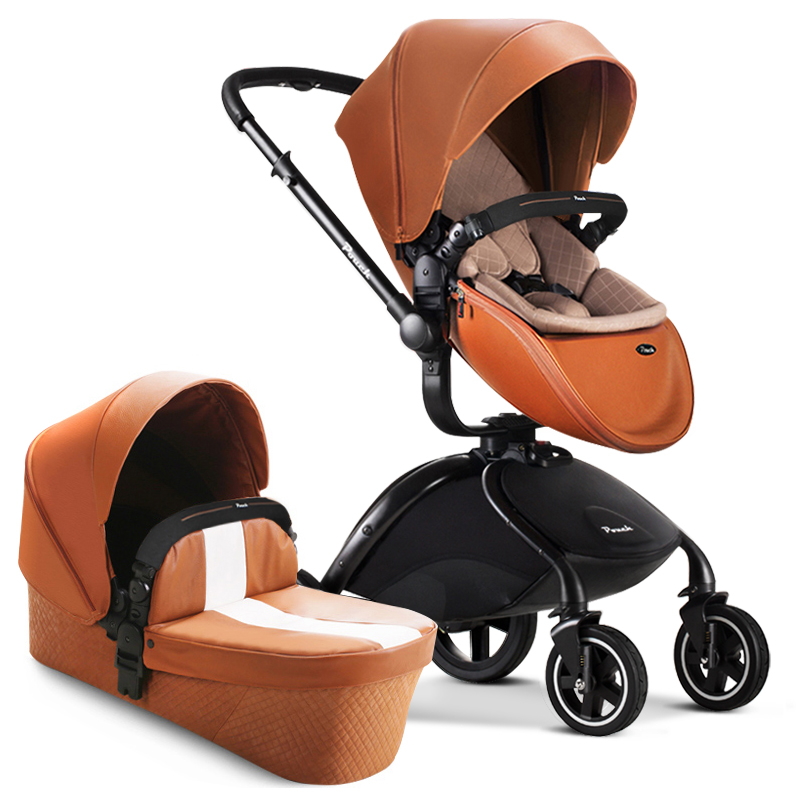HK free Pouch strollers 2 in 1 car seat baby sleeping newborn luxury leather pram