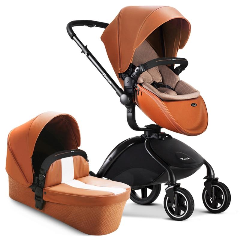 HK free Pouch strollers 2 in 1 car seat baby sleeping newborn luxury leather pram все цены