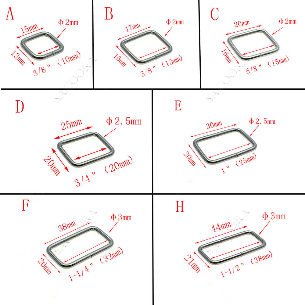 10 teile/paket Metall Draht Gebildet Rechteck Ring Loops für Gurtband 10 12 15 20 25 32 38mm
