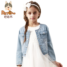 PATEMO Girls Denim Jacket Light Blue Jeans Jacket Children Outwear Coat for Girls O-Neck 2017 Fashion Kids Girl Spring/Autumn