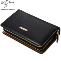 Kangaroo Kingdom Brand Luxury Men Clutch Bags Split Leather Handbag Double Zipper Business Hand Bag for Man