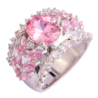 Bobemia Style Saucy Women Pink Sapphire 925 Silver Ring Size 7 8 9 10 New Fashion Jewelry Gift Free Shipping Wholesale