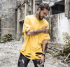 Vellsar Fashion Cotton Loose Urban Clothing Holes Longline Extended Tees Mens New Hipster Hip Hop Ripped