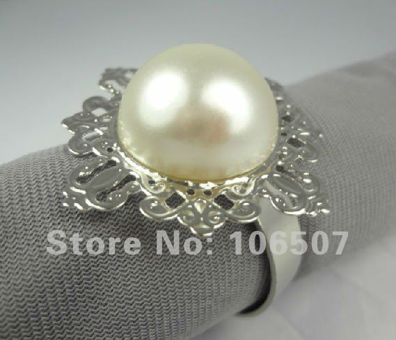 100 pcs PEARL Gem Napkin Rings Wedding Bridal Shower Favour Party decor-FREE SHIPPINGNEW AND HOT SELL!