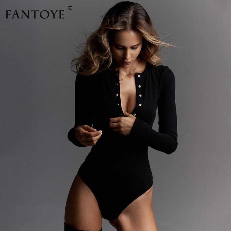 Fantoye сексуальные боди с длинными рукавами женские 2018 Осень Зима Черные тонкие комбинезоны в обтяжку Дамский облегающий костюм топы
