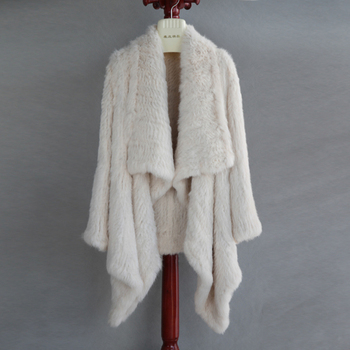 FREE SHIPPING  100% Real Knitted Rabbit Fur Coat , Natural Rabbit  Fur Jacket European Style Thick KinttedColor No. SU-16020 1