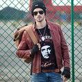 2016 Nueva Dusen Klein abrigo De Cuero Masculina Otoño Prendas de Vestir Exteriores de vino rojo/Negro/Estilo Delgado de piel de Oveja genuina chaqueta de cuero 16S1422