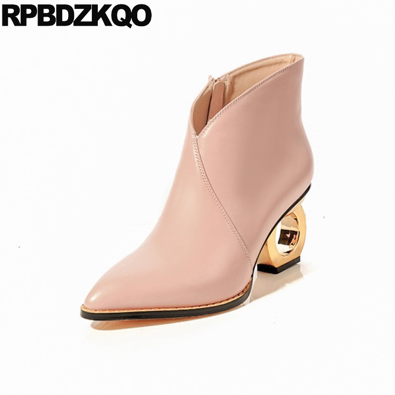 Pink Women 2017 Booties Ankle Strange Elegant Genuine Leather Autumn High Heel Luxury Shoes Short Pointed Toe Metal Boots Ladies women s genuine leather low heel comfortable autumn ankle boots brand designer pointed toe elegant short booties shoes women hot