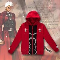 Anime Fate Stay Night Cosplay Emiya Shirou Cosplay Costumes Hoodie Red Jacket Zipper Coat Winter Sportwear