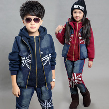 2016 Winter Boys and girls thickening of cowboy three piece suits children fashion splicing streetwear clothing set