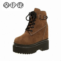 Winter Women Martin Boots Female Leather Punk Combat Boots Woman Mid Calf Warm Ladies Girl Shoes