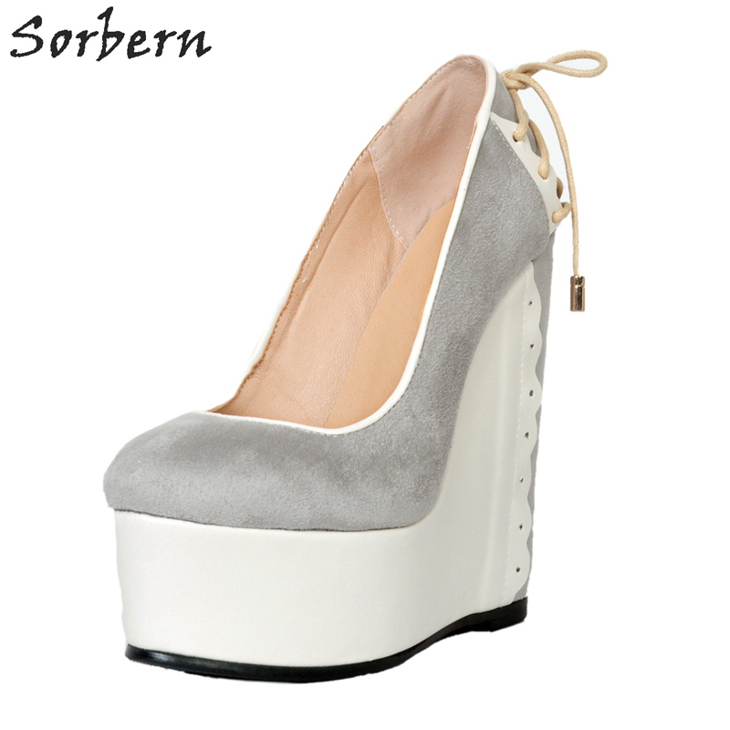 Sorbern Womens Heel Platform Wedge Pump Shoes Women Slip On Custom Colors Wedges Shoes For Women 2018 New Shoes Ladies sorbern black fetish sexy women shoes boots ankle high stilettos 2018 new women shoes custom colors slip on heel shoes women