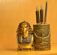 Egyptian Pharaoh Pen Container Figurine Study Table Decorations Gifts Fairy Garden Pharaoh Pen Box Vintage Home Decor Folk Atr
