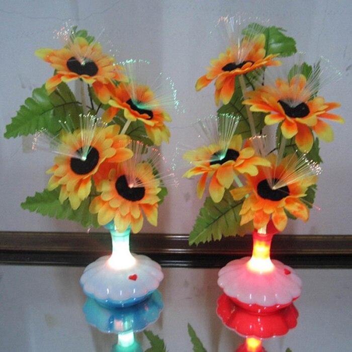 1 PC New LED Artificial flower Optical Fiber Lamp Flower Calla Lily Vase Night Light Decoration for Home Party Decor - Цвет: Черный