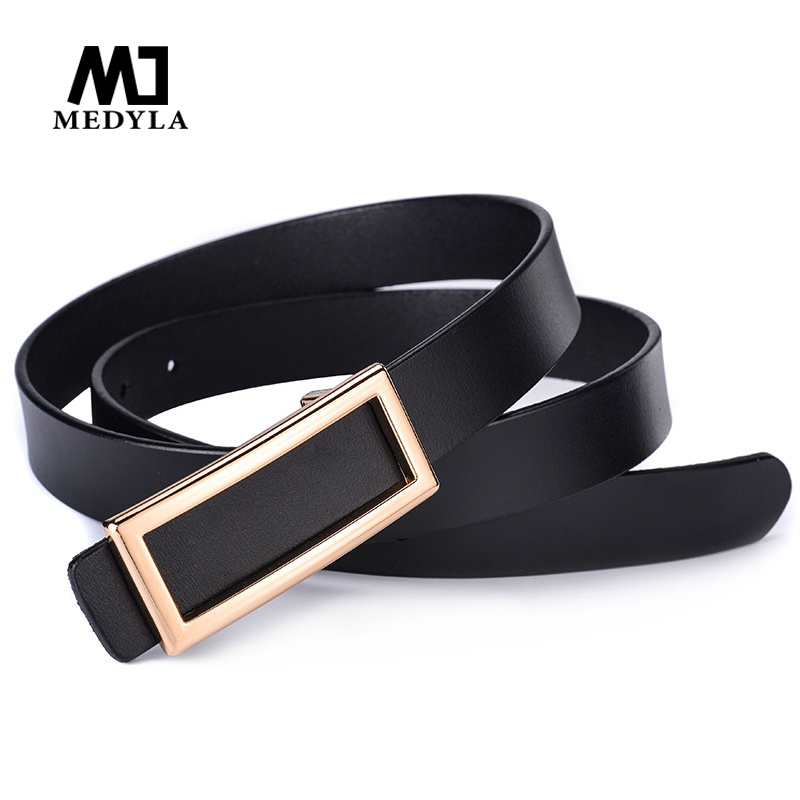 MEDYLA New Hot Sale Ladies Leather Smooth Buckle Belt Leather Belt Personality Rectangular Casual Wild Belt