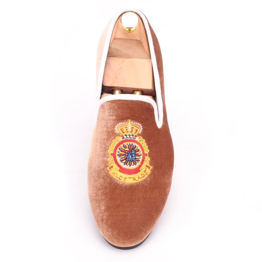 Grande Veludo Coroa Homens Frete 17 Bordado De Grátis Loafer 4 Tamanho Sapatos Turquia Marrom Flats Bg1dqq
