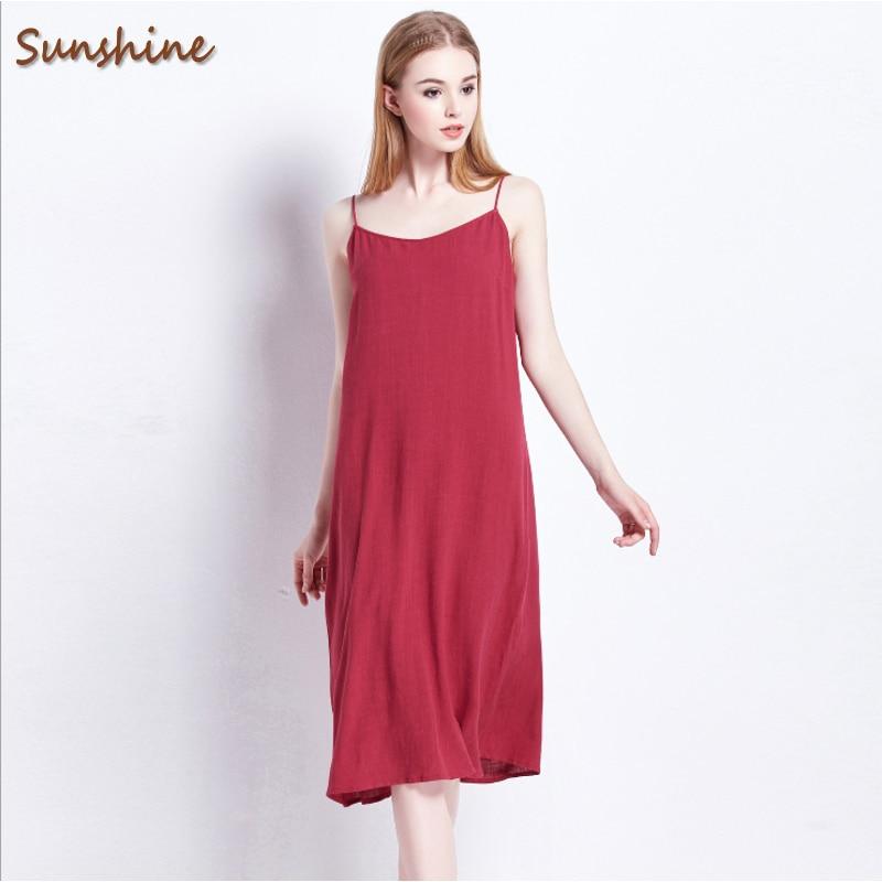 2017 musim panas merek fashion wanita kasual baju homewear perempuan tali spaghetti tidur wanita linen