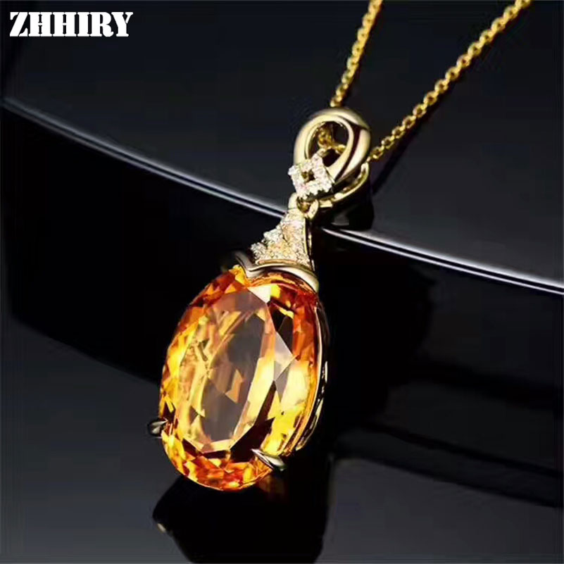 Natural Yellow Citrine Necklace Pendant Genuine Solid 925 Sterling Silver Fine Gemstone Jewelry