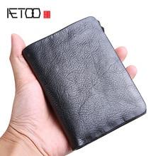AETOO Handmade purse mens leather short buckle zipper Mens genuine vertical wave