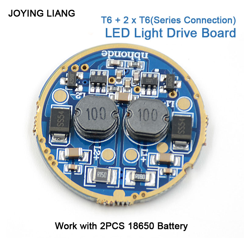 JYL-9809 High-power 3T6 Strong Light Flashlight Magnetic Control Panel Circuit Board Light Driving Plate 5 Modes Diameter 30mm