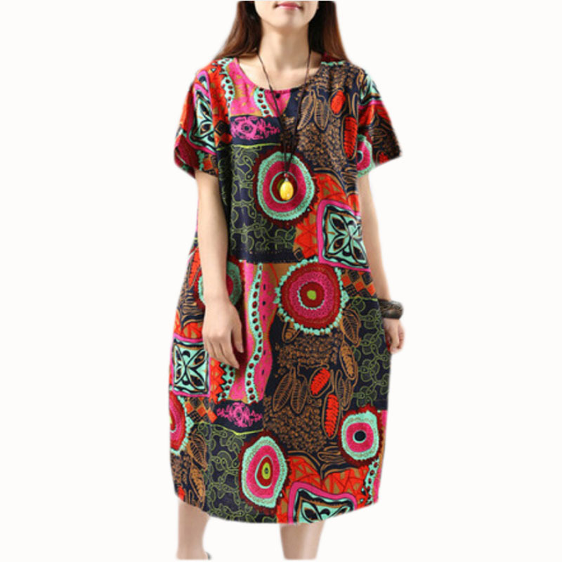 Buy Cheap Vintage Printing Dress Women Casual Summer Clothing 2015 Tropical Plus Size Loose-fitting Dress Short Sleeve Dress C35