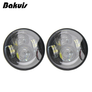 """Image 3 - 2 Pcs Motorcycle 4.65 Inch moto Round Headlamps For Harley Dyna FXDF Model Driving Lamps 5"""" Fat Bob Projector LED Headlights"""