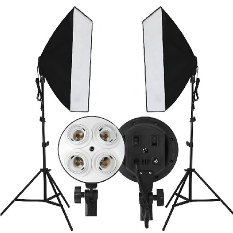 Video Photo Studio Soft Box 50x70cm Sets 2M Light Stand Tripod 4in1 Lamp Holder For 4