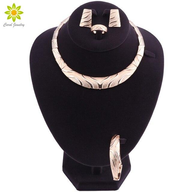 חתונה אופנה חמה צבע זהב סט תכשיטי דובאי אפריקה ניגריה אפריקה-עגילי שרשרת סטי תכשיטי כלה אישה רומנטית