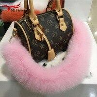New 2018 Fox Fur Hair pompom Handbag Belt Trendy Design Bags Strap Bag Parts Bag Accessory Easy Matching Keychain