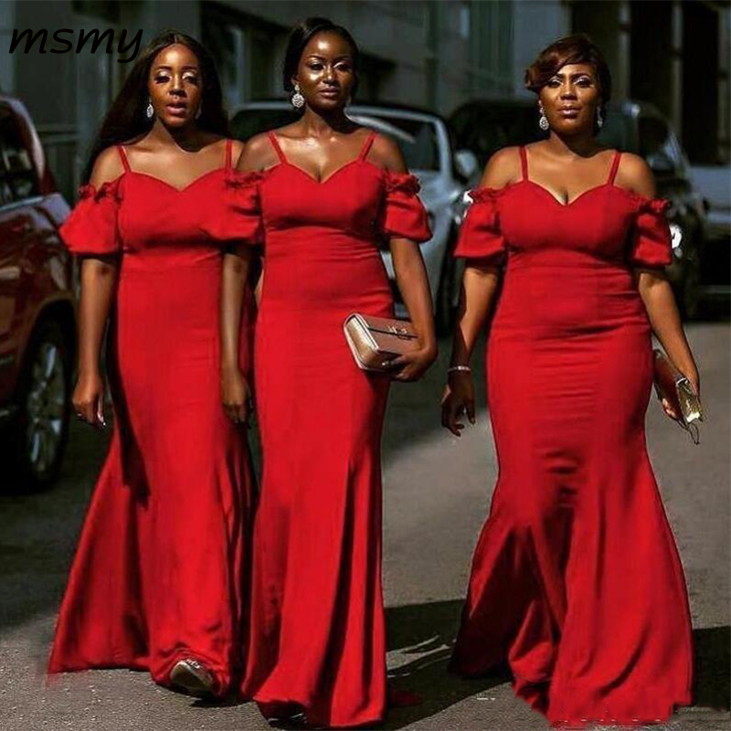 South African Red Mermaid Bridesmaids Dresses Summer Bohemian Spaghetti Straps Wedding Guest Party Custom Made Plus Size