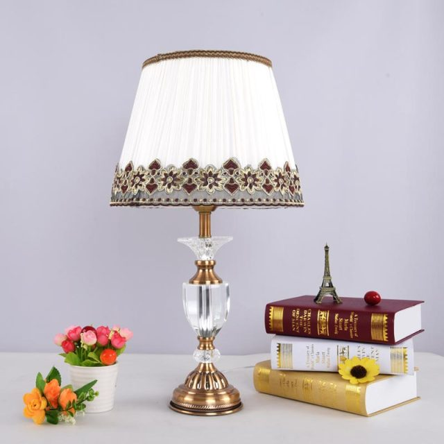 Antique Brass Luxury Modern Crystal Table Lamp Fabric Lampshade Living Room Bedroom Bedside Lights Home