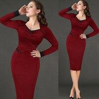 Frauen vintage 50 s pinup dress xxl l schwarz rot patchwork Sexy Fashion Long Sleeve Herbst Cocktail Party Mantel Ausgestattet Bogen dress