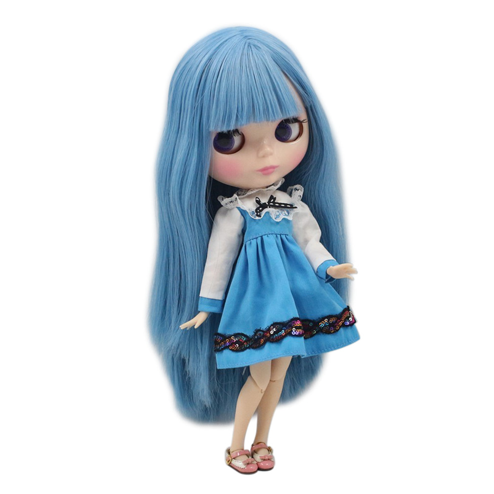 factory blyth doll long straight blue hair with bangs fringes joint doll 230BL2749 color will change