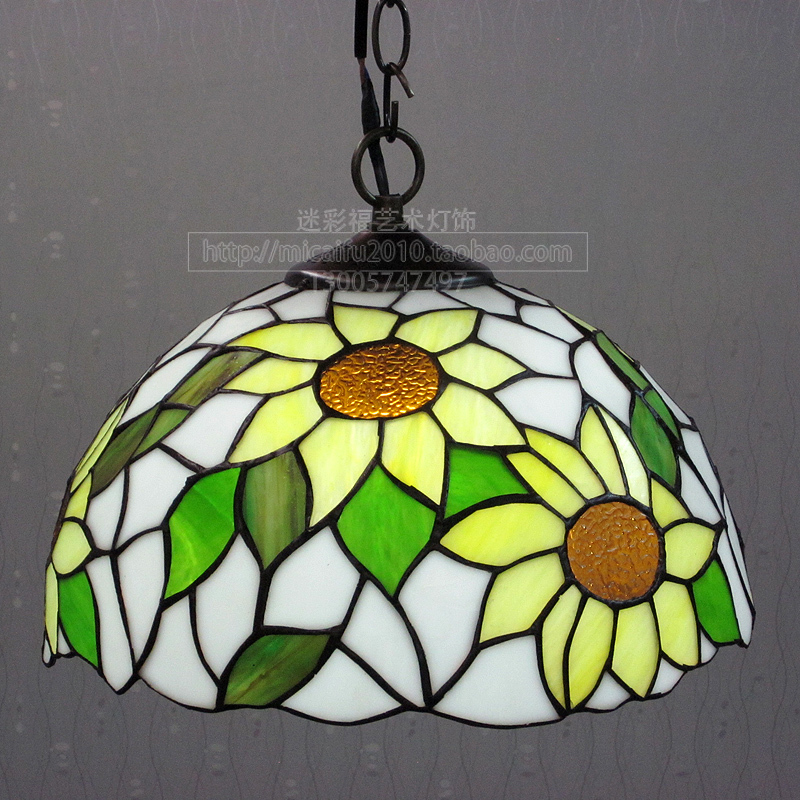 12inch European tiffany glass sun flower Suspended Luminaire E27 110-240V Chain Pendant lights for Home Parlor Dining Room