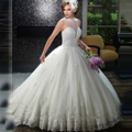 2017 Sparkling Beaded Ball Gown Wedding Dresses High Neck Backless Lace Applique Vestido De Novia Bridal Gowns Robe Mariage