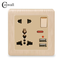 Coswall Wall Power Socket 13A Universal 5 Hole Switched Outlet 2.1A Dual USB Charger Port LED indicator Gold Color Brushed Panel()