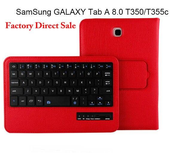 Продажа завода Ультра-тонкий 2 В 1 Съемный Беспроводная Bluetooth Клавиатура PU Кожаный Чехол Подставка Для Samsung Tab 8.0 T350/T351/T355C