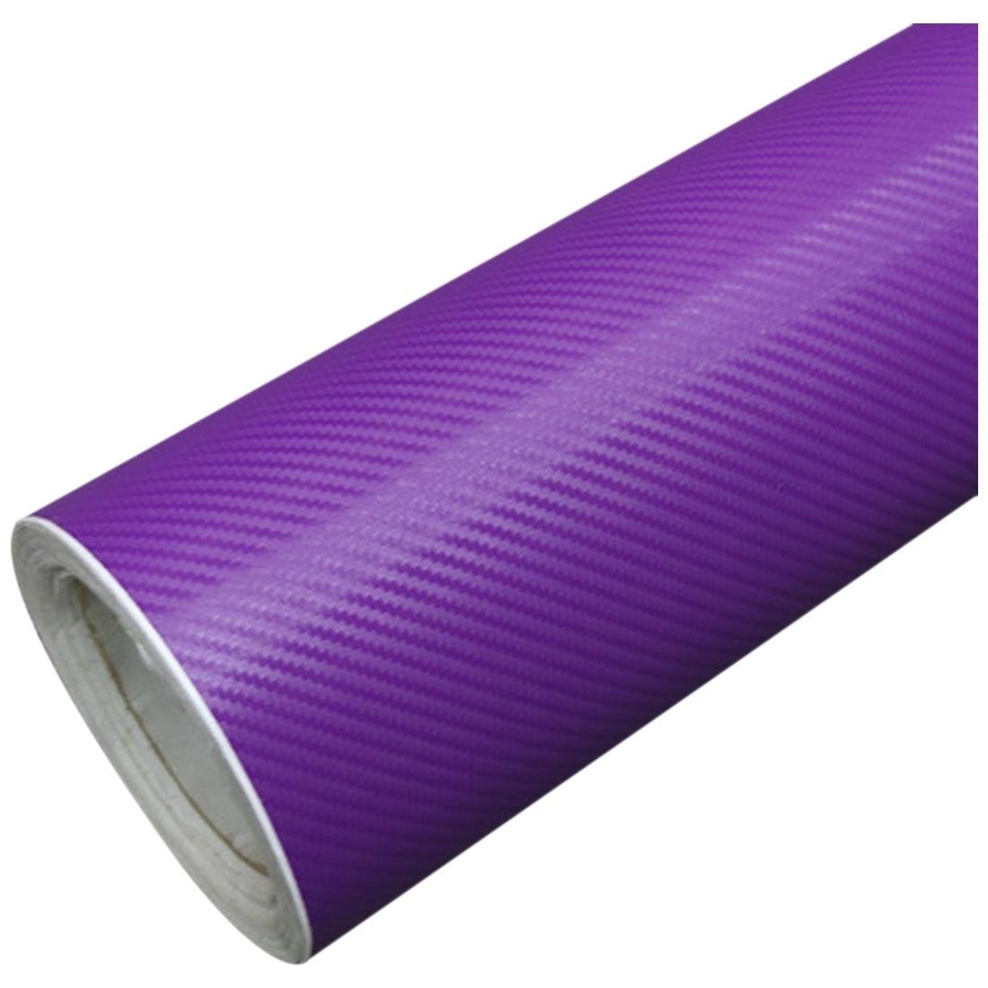 Поделки 30x127 3D углеродного волокна наклейка виниловая пленка Wrap ролл клей автомобиля стикер лист фиолетовый