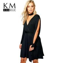 Kissmilk 2017 Big Size Fashion Clothing Sexy Deep V-neck Cold Shoulder Women Dress Brief Solid Dress Plus Size 4XL 5XL 6XL