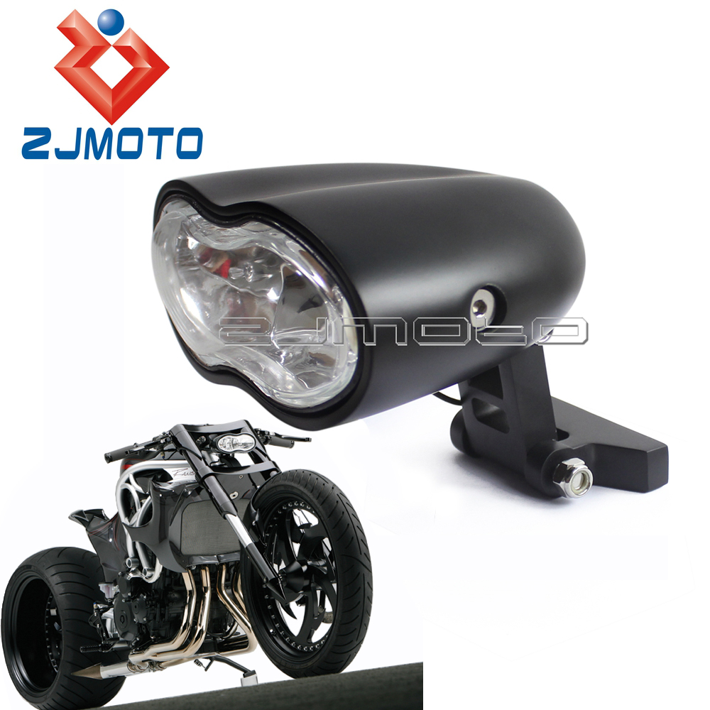 Black Universal Twin Headlight Custom Wave Billet Halogen Dual Headlight For Harley Honda Yamaha Suzuki Oval Double Headlight