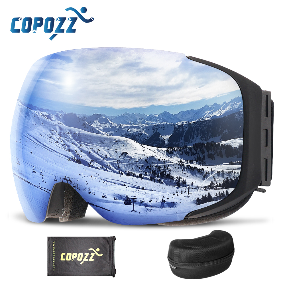 COPOZZ Brand Magnetic Ski Goggles With Case Double Lens Anti-fog Ski Snow Glasses UV400 Skiing Men Women Winter Snowboard 2181