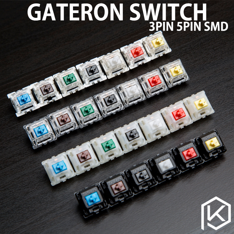 gateron switch 3pin 5pin smd blue red black brown green clear yellow silent for custom mechnical keyboard xd64 xd60 eepw84 gh60(China)