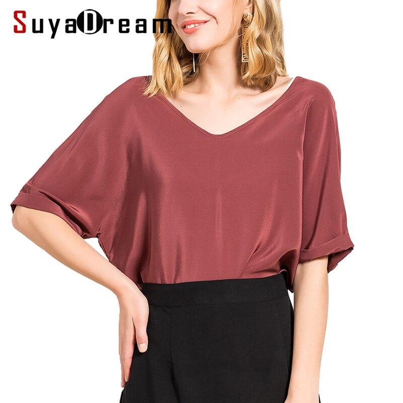 Women Silk T SHIRT Half sleeve V neck 100 Natural silk casual shirt Blusas femininas 2018