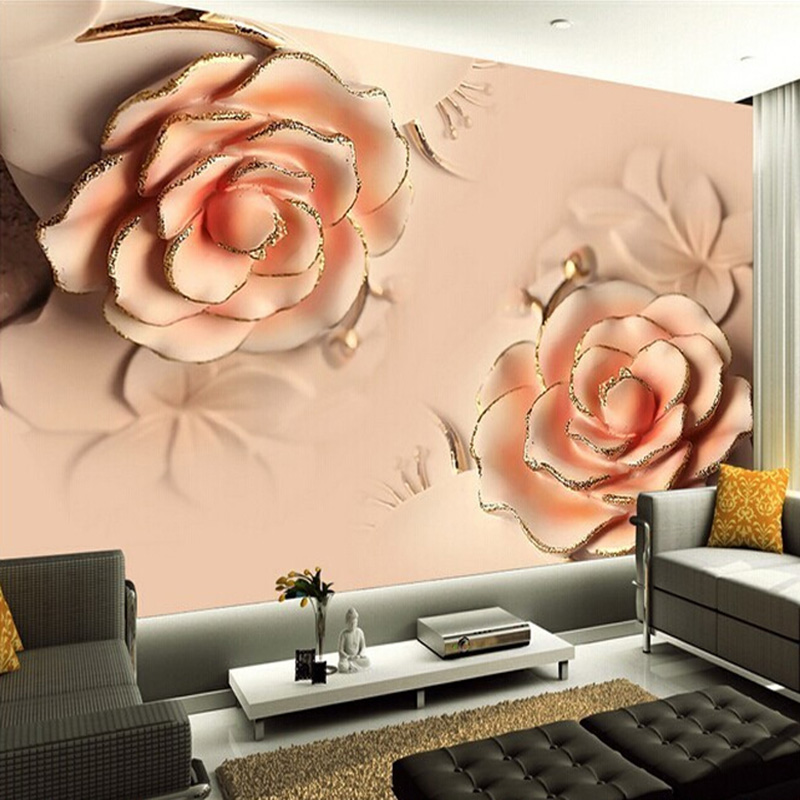 Custom Wall Mural Wallpaper Modern 3D Stereoscopic Romantic Pink Rose Flower Living Room TV Backdrop Wallpaper For Bedroom Walls
