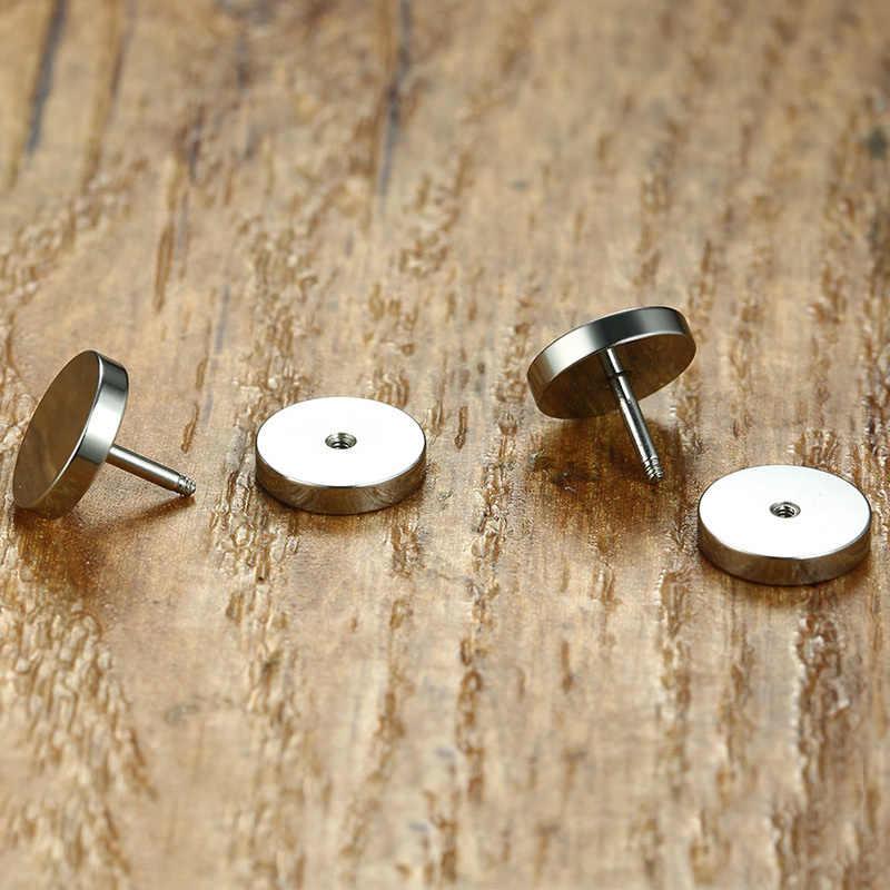 Vnox Stainless Steel Earrings Double Round Bolt Stud Earrings for Men Women Punk Gothic Silver Ear Stud Earring Female Male