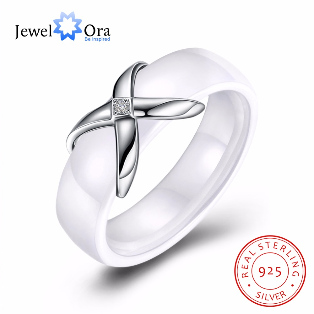 925 Sterling Silver Jewelry Rings For Womens Wholesale Price Trendy White Ceramic Rings Gift For Mother(JewelOra RI103330)