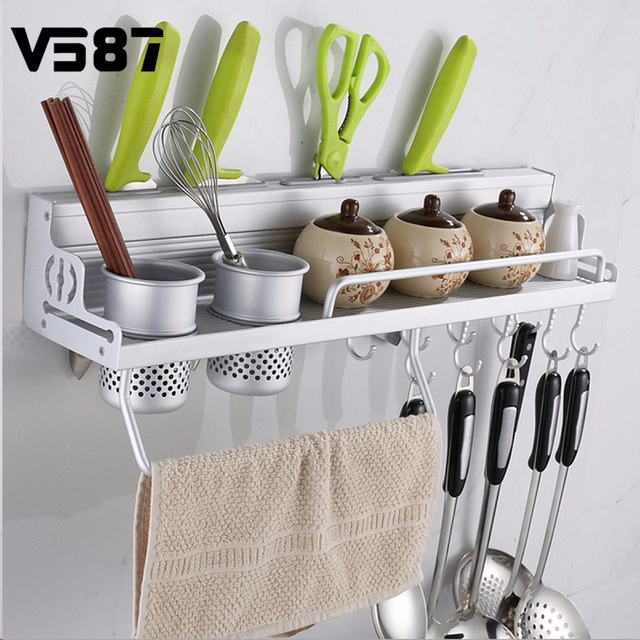 largo de aluminio pan pot rack almacenaje de la cocina despensa organizador ganchos porta utensilios de