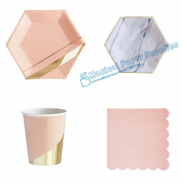 24 Sets Marble Hexagon Gold Plates Blush Pink and Gold Party Supplies Large Plates Cups Napkins  sc 1 st  AliExpress.com & 24 Sets Marble Hexagon Gold Plates Blush Pink and Gold Party ...