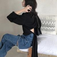 2019 Spring and Summer Elegant Women T shirts Cotton Casual Full Bow Short Solid O Neck Lantern Sleeve Harajuku Shirt