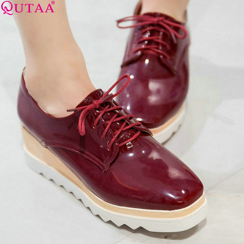 ФОТО QUTAA Leisure Burgundy Woman Pumps Lace Up Platform Lace Up PU Patent leather Ladies Shoes Women Casual Shoes Size 34-43